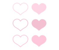 淡いピンク色のハートマーク素材セット