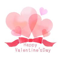 水彩風バレンタイン素材リボンと重なるハートイラスト