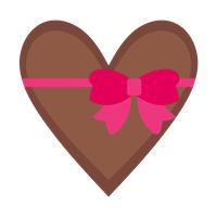 リボン付きチョコ色ハート