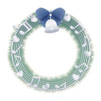 音符のクリスマスリースイラスト素材青リボンと銀色