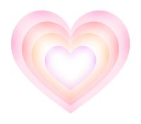 薄い色のハートが重なる素材ピンク