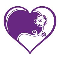 紫ハートフレーム白抜き花