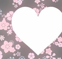 花模様背景に白いハート