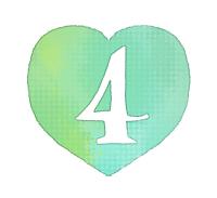手描き数字4緑色のハート