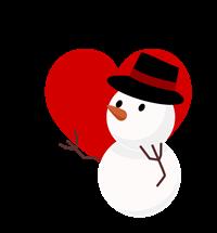 透過雪だるまフリーイラスト赤