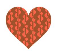 茶色とオレンジのパターンハート