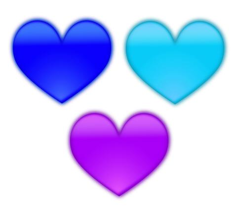 青と水色、紫色のハートマーク ぼやけて少し立体感がある