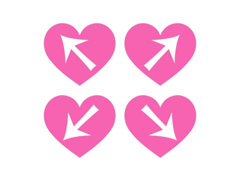 ななめ4方向の矢印が白抜きされたピンク色のハートマーク素材