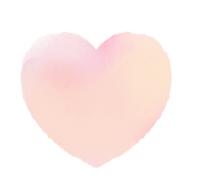 淡いピンクの大きな水彩ハート