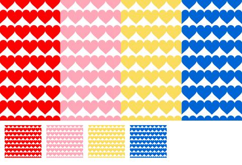 ハートのシームレスパターン素材 赤やピンク、黄色、青色の大小ハートマークが一面に並んでいます