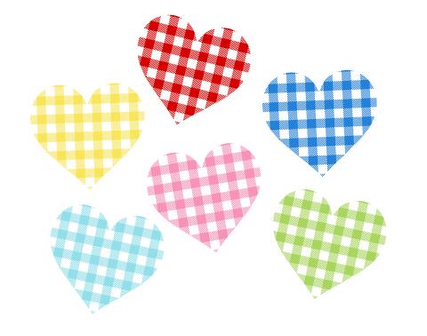 ギンガムチェックハートマーク素材赤・青・黄色・緑・水色・ピンクの六色
