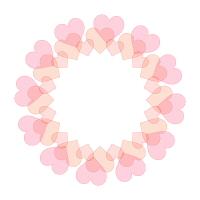 ピンク色半透明ハートの円フレーム
