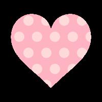 透過ピンクハートに薄ピンクドット模様