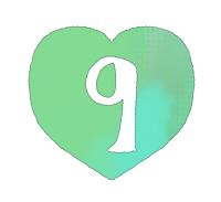 手描き数字9緑色のハート