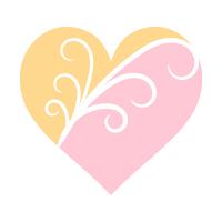 二色ハート薄ピンクとイエロー