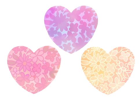 手描き花模様水彩風ハートイラスト