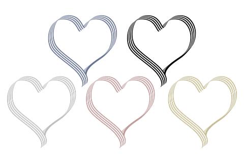 細線が連なるハート枠濁った地味な色5タイプ