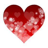雪の結晶と白いハート模様が入った真っ赤なハートマーク素材