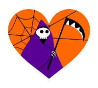 ハロウィンイラスト素材死神と鎌、蜘蛛の巣のハート