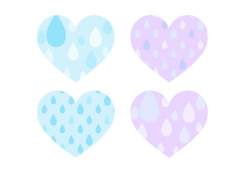 雨粒模様のハートマーク