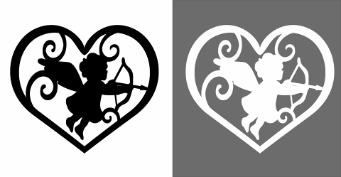 弓矢とキューピッドモノクロシルエットハート 右向きに弓矢を構えている翼がある天使の単色イラスト