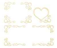 横長四角フレーム蔦模様とハートゴールドカラー