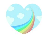 虹のイラストが入ったハート素材02