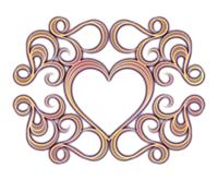 くすんだ色の装飾ハート枠金