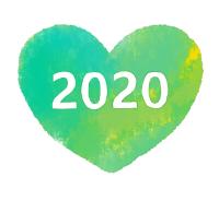 2020白文字緑色ハート