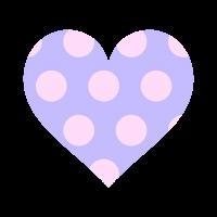 透過紫ハートに薄ピンクドット