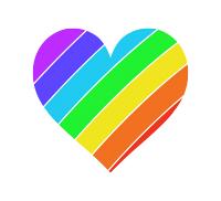右上虹色のハートマークレインボー柄