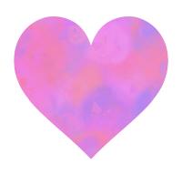 濃いピンクと青の混ざったハートマーク