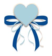ハートとリボンのイラスト素材青と水色