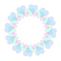 淡いブルー色半透明ハートの円フレーム
