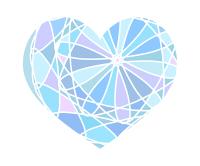 カラフル分割ハート素材ブルー