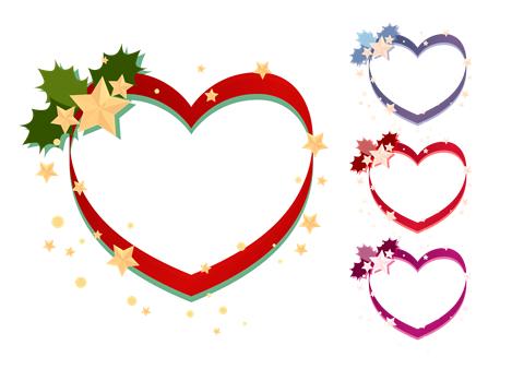クリスマスイラストフレーム ハート枠に柊と星の飾り