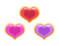 200立体的な装飾金枠のハート赤ピンク紫