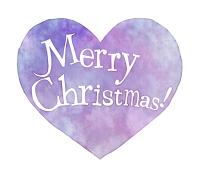 クリスマス手書き文字水彩風ハートパープル
