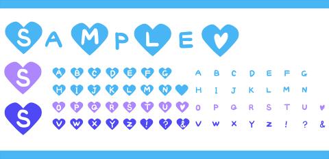手描きアルファベットのハート素材 水色・青・紫