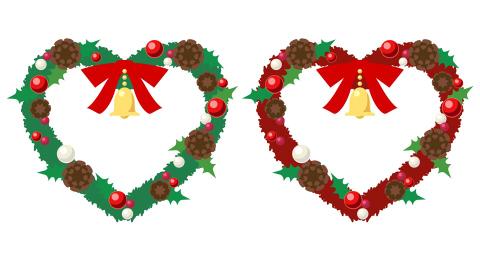 ハート型クリスマスリースイラスト赤と緑の二色フリー素材