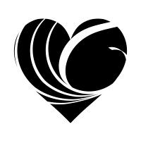 白い波模様の黒ハート04