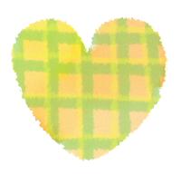黄色いチェック柄の手描きハートマーク