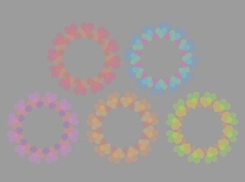 サンプル5色の輪っかフレーム半透明淡色