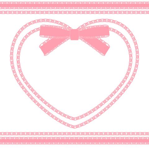 フリー素材のハートフレームピンク リボン装飾と二重枠、レース風ライン