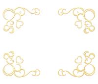 蔦模様とハートの四隅フレーム金色