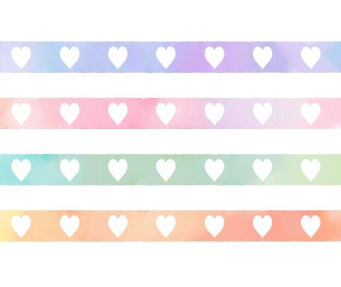 ライン素材水彩風 水色と紫、ピンク、オレンジ、グリーンなど4色の横ラインに、白抜きでハート模様が並んでいる