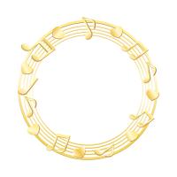 金色音符の輪っかイラスト素材