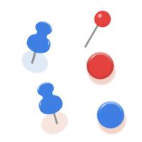 赤や青のピンのイラスト素材