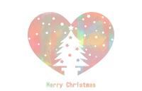 クリスマスツリーシルエットハート背景透明