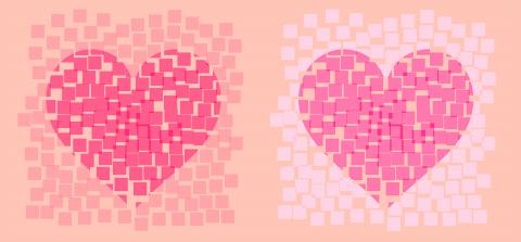ピンクのドットハート透過具合のサンプル画像